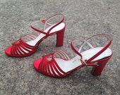 Ruby Red Slippers- Vintage 1970s Red Metallic Strappy Heels / Garolini, made in Italy /  Sz 8