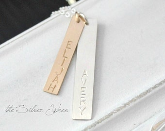 Vertical Name Bar Necklace, Personalized Necklace, Two Name Necklace, Mixed Metal Jewelry, Personalized Bar Necklace, Gift for Mom