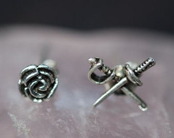 Rose and Swords Small Silver Stud Earrings