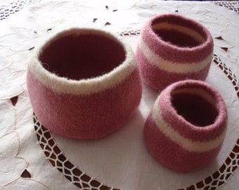 Crocheted Felted Wool Bowls in Shades of Pink