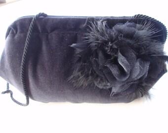 Black Velvet Evening Bag with Floral/Feather Design