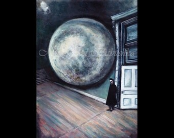 Standing Guard at the Moon, Astronomy, Museum, Satellite, Natural History, Surrealism, Blue, Night Sky, Luna, Guardian, Original Painting