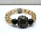 Black and Gold Boho Beaded Bracelet Mocha Lampwork Stretch Bracelet Rhinestone