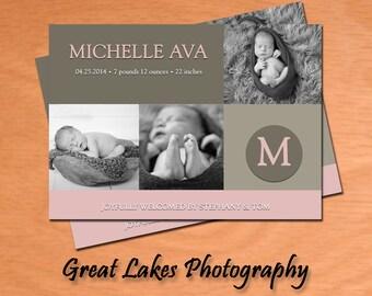 Personalized Newborn Photo Announcement Card - Digital File
