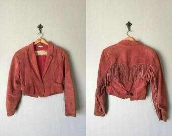 Vintage BB DAKOTA Leather Jacket • 1990s Clothing • Cropped Fringe Rose Pink Suede Western Wear Cowgirl Coat •Women Size Small Medium