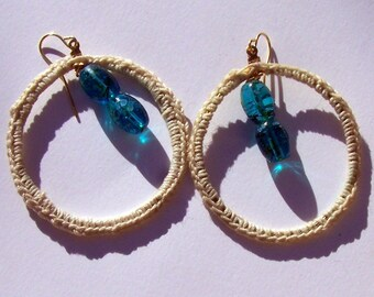 Crocheted Hooped earrings white thread very fine with blue glass hanging