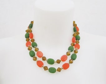 50s 60s Necklace Vintage 2 Strand Bead Fall Harvest Orange Green