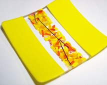 """yellow centrepiece; SUNRISE ANTICIPATION; one-of-a-kind; art glass gift; 20X20CMS, 8"""" x 8""""; a talking point for your table"""