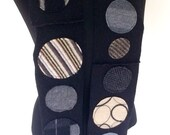 Black Dotty Scarf made from repurposed merino wool sweaters in black, white and gray, neutral