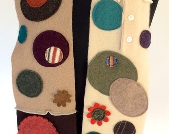Cashmere DottyScarf Upcycled Sweaters Funky Winter Eclectic Colorful Warm Wool tan