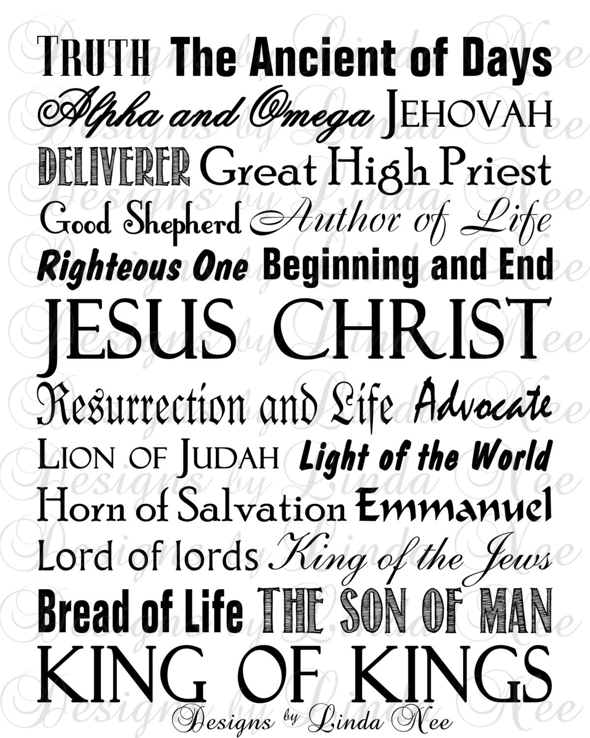This is a graphic of Peaceful Free Printable Names of God