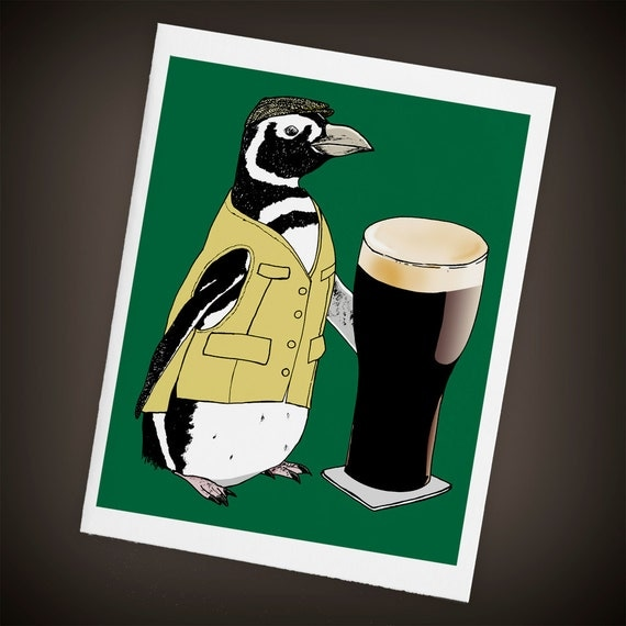 Penguin, Beer, Pub, Irish, Blank Greeting Card - Size A2, I'll Have a Pint