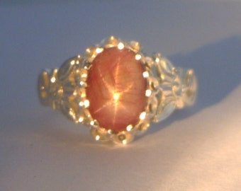Natural Star Ruby Flower of Angels Handmade Sterling Silver Ladies Ring size 10