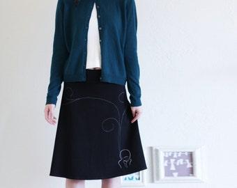 Whimsical skirts for Women, Womens applique cotton skirts, Midi skirt in balck, Black jersey knee length aline skirt - Smoking girl