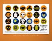 Halloween Graphics Sheet- Instant Downland Printable Graphics for Crafts- Halloween Bottle Cap Images