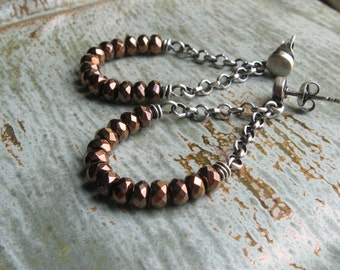 Copper Hematite and Chain Post Earrings