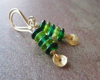 Gold Filled Mixed Green Czech Glass Dangle Earrings