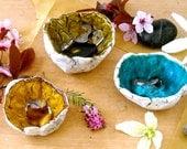 3 Petite Primitive Geode Bowls - HandMade Rustic Blue, Green, Golden Brown Mini Condiment Dish Set - Small Salt, Pepper, Spice, Ring Holder