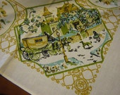 64 x 52 Crisp Victorian Stagecoach Horse & Buggy Wagon Scenic Street Yellow Green sage olive aqua Tablecloth Back Thennish Vintage