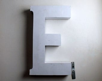 Large Vintage Industrial Letter Capital E Large Metal White Letters Cool Retro Neutral Wall Decor