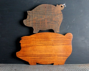 Vintage Pine Wood Cutting Boards, Pig Kitchen Decor, Country Farmhouse, Two Pigs