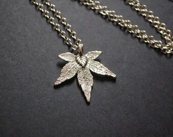 silver tone fall autumn leaf necklace