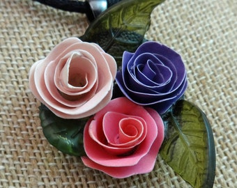 Hand Quilled Rose Paper Necklace Pendant Silk Cord Included Roses Hand Made Artisan FREE SHIPPING #2015-023
