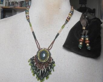 Beaded Bloodstone Necklace with Beaded Jade Tassels Jasper Unakite Tiger Eye Pearls Semiprecious Stone Gemstone Beads OlyTeam