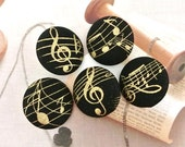 "Handmade Retro Black Gold Music Piano Note Fabric Covered Buttons, Retro Musical Note Magnets, Flat Backs, 1.2""  5's"