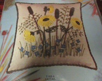 Crewel Pillow Kit Cattails Minuet Crewel Pillow Kit T-153A Sealed in the Original Package