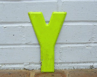 Vintage Metal Sign Metal Letter Y Sign Chippy Painted Letter Y Old Rusy Letter Y Antique Marquee Letter Y