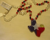 Texas Flag Pendant Fused Glass Beaded Necklace