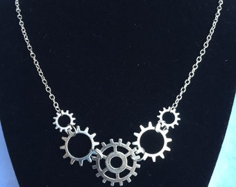 Gear Necklace, Steampunk Silver Gear Necklace, Steampunk Necklace