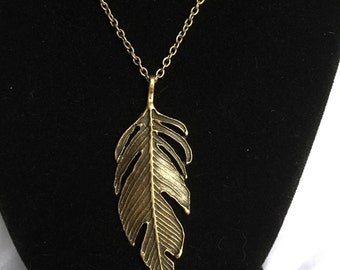 Feather Necklace, Large Feather Necklace, Dramatic