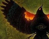 REDWING BLACKSONG ※ Sunset Bird Petroglyphs Ancient Sun Fire Summer Beautiful Song Oregon Bird Art