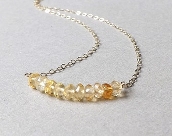 Citrine Bar Necklace Tiny Yellow Citrine Gemstone November Birthstone Pendant Simple Minimalist Jewelry, Sterling Silver or Gold Filled