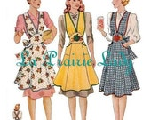 Repro Vintage Full Apron 40's PDF Pattern No 4  Available in M-L-XL