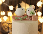 love bird with branch and  flowers  Wedding Cake Topper (K335)