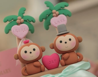monkeys  Wedding Cake Topper-love monkeys---k730
