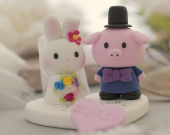 pig and bunny wedding cake topper---k930