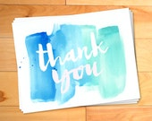 Thank You Notes, Watercolor Thank You Cards, Kids Thank you Cards, Script, Typography, Personalized Notecards,12