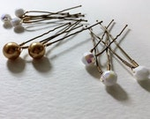 Swarovski Gold Pearl and AB Czech Glass Bridal & Prom Hairpins, bridal hairpins, up-do's, cheep and sweet, gold pearl, hairpin, pearl