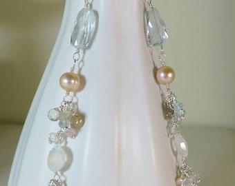 Long Aquamarine linear gemstone earrings,pink pearl,spinel,rainbow moonstone,silver topaz,long silver earrings,pastel gems,wedding jewelry,