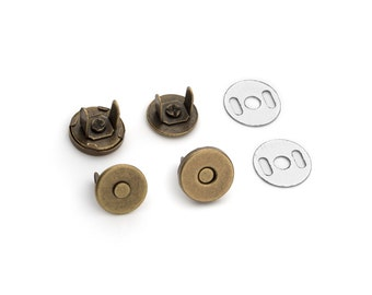 10 Sets Magnetic Purse Snaps - Closures 10mm Antique Brass - Free Shipping (MAGNET SNAP MAG-104)