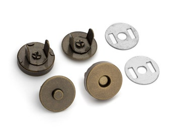 10 Sets Magnetic Purse Snaps - Closures 14mm Antique Brass - Free Shipping (MAGNET SNAP MAG-112)