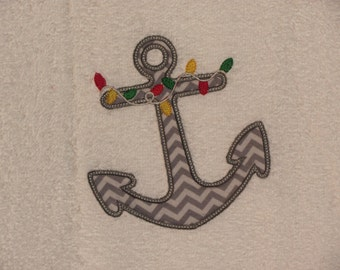 Christmas Anchor Appliqued Hand Towel