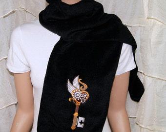 Flying SteamPunk Skeleton Gear Key Embroidered Black Scarf MTCoffinz