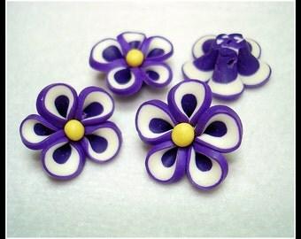 Purple Handmade Clay Flower Beads (Qty 4) - B2570