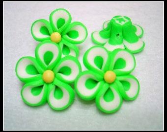 Bright Green Handmade Clay Flower Beads (Qty 4) - B2576