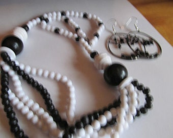 black white bead rhinestone dangles
